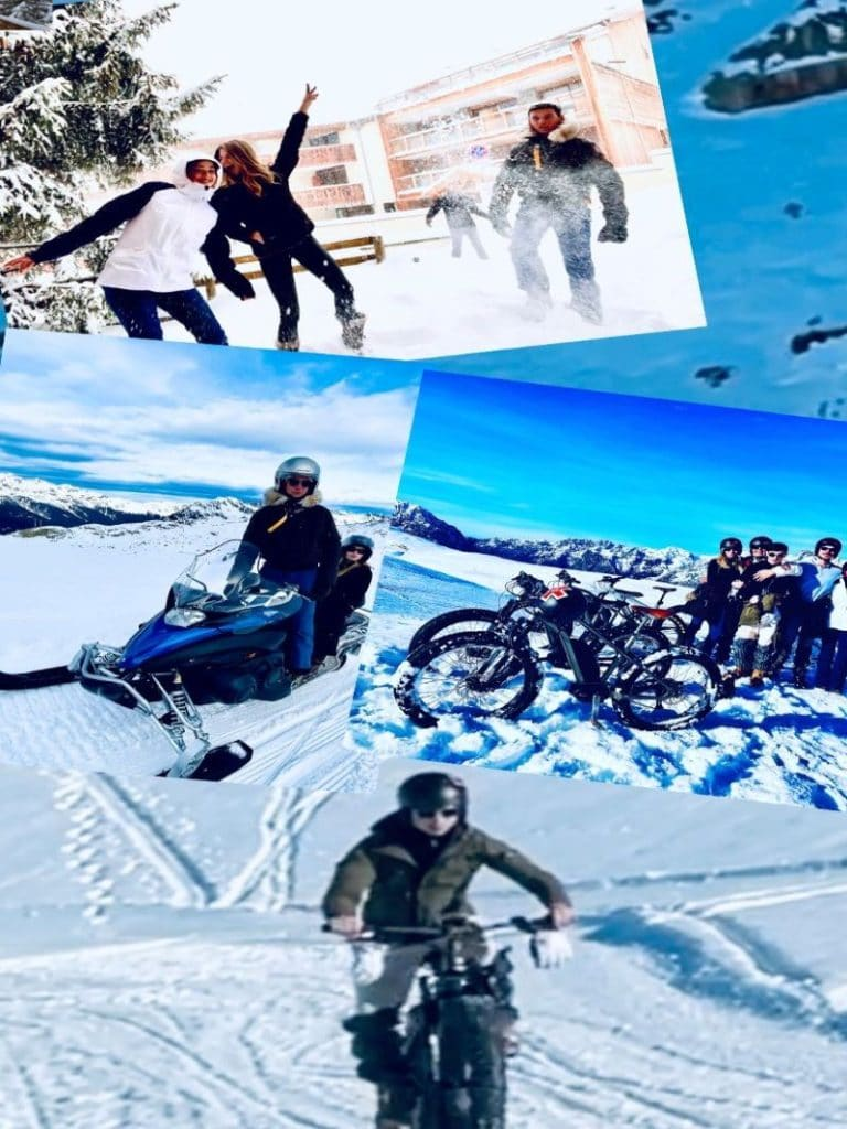The activities of l'Alpe d'Huez, fate-e-bike, snowmobile, and fun in front of the snowy chalet!
