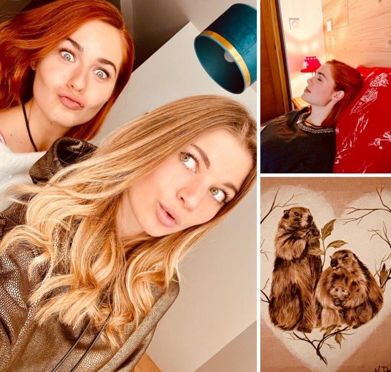 Mädchen, die die Vorteile von l'Wohnung in l'Alpe d'Huez nutzen