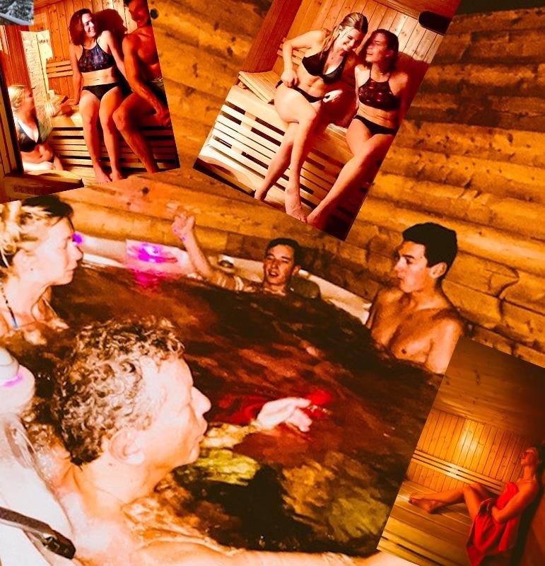 La famiglia Taveau che profila l'area relax, jacuzzi e sauna de l'appartamento Alpe a l'Alpe d'Huez