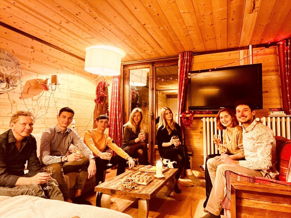 The Taveau family on Christmas Eve in l'Alpe apartment in l'Alpe d'Huez