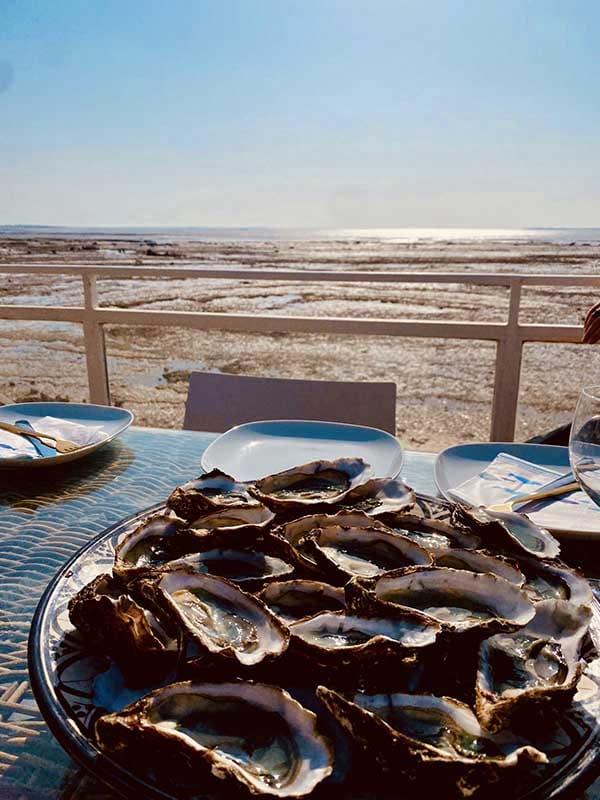 Terrasse avec planche -cuisine Huitres de la Villa Bord de Mer La Rochelle à Angoulins sur mer
